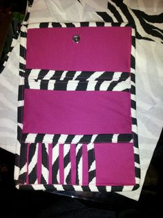Pink and zebra wallet with 7 cc slips and 3 money pockets  nTICing dEsigns