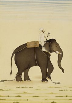 An elephant and its mahout in service of the Mughal Emperor Muhammad Shah