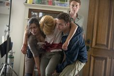 Still of Christian Serratos, Ross Marquand, Jordan Woods-Robinson and Laura M. Beamer in The Walking Dead (2010)
