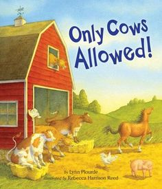 "2012 Moonbeam Medalist. ""Once uPUN a new New England farm, the cows refuse to let the other farm animals mooooove into the barn. ONLY COWS ALLOWED! But the hens, horses, pigs, sheep, goats, and geese aren't about to let those bossy cows get their way. The first-time farmer doesn't side with the cows either. Animal after animal after animal moves into the barn. But when the farmer throws an all-night barn party to celebrate his new farm, the cows leave without uddering a word."""