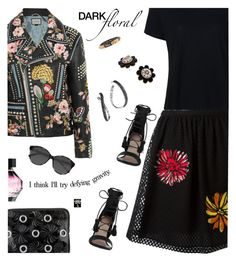 """""""In Bloom: Dark Florals"""" by annbaker ❤ liked on Polyvore featuring Zimmermann, Moschino, Frame, Gucci, 3.1 Phillip Lim, Victoria's Secret, John Hardy, Kate Spade, Ace and darkflorals"""