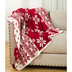 Saro Sevan Collection Knitted Christmas Design Throw Blanket