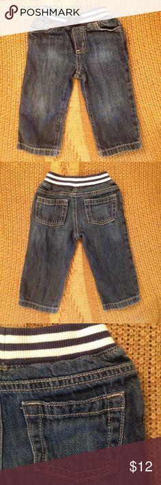 Gymboree Dark Wash Jeans Striped Waistband Gymboree 12-18 m boys jeans in a dark wash with striped comfort waistband. Gymboree Bottoms Jeans