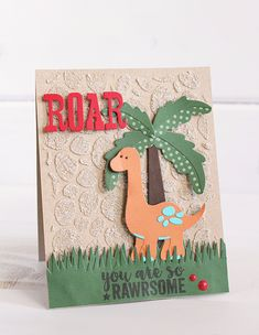 """Roar card by Kimberly Crawford with the """"Dino Friends"""" collection by #EchoParkPaper. Check out the fun technique with the designer stencil!"""