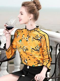 Shop Yellow Floral Print Stand Collar Blouse at EZPOPSY. Frock Fashion, Modest Fashion, Fashion Dresses, Sleeves Designs For Dresses, Blouse Outfit, Curvy Women Fashion, Discount Designer Clothes, Blouses For Women, Women's Blouses