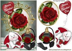 Roses and perfume with valentine bunny on Craftsuprint - Add To Basket!