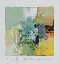May 8, 2015 - Original Abstract Oil Painting - 9x9 painting (9 x 9 cm - app. 4 x 4 inch) with 8 x 10 inch mat