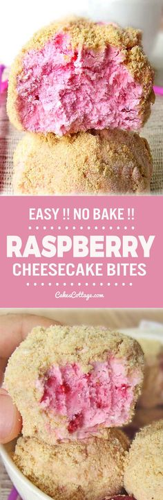 Easy Raspberry Cheesecake Bites is part of Dessert recipes - Perfect summer treat for the cheesecake & raspberry lovers! Cheesecake Bites, Raspberry Cheesecake, Cheesecake Recipes, Raspberry Recipes, No Bake Desserts, Just Desserts, Delicious Desserts, Yummy Food, Baking Recipes