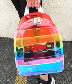 BCMartDeals is under construction : Backpack Rainbow PVC Transparent Striped Clear Multicolor Fashion Bag Backpack Rainbow PVC Transparent Striped Clear Multicolor Fashion Bag Cute Fashion, Fashion Bags, Fashion Models, Womens Fashion, Fashion 2018, High Fashion, Vintage Fashion, Fashion Outfits, Pvc Transparent