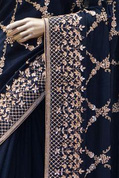 Embroidery Suits Punjabi, Zardozi Embroidery, Pearl Embroidery, Hand Embroidery Dress, Couture Embroidery, Embroidery Fashion, Saree Gown, Satin Saree, Sari