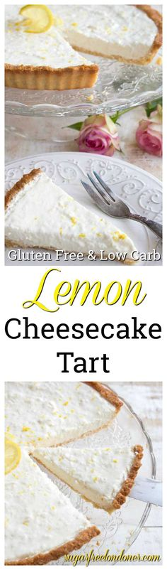 Zingy and refreshing, this low carb lemon cheesecake tart is a heavenly creamy highlight to any meal. Your family will never guess it's sugar free! Keto, gluten free and diabetic-friendly. #cheesecake #dessert #recipe #lemon #sugarfree #lowcarb #keto #glutenfree #diabeticrecipe #healthydessert #lchf #baking #cake