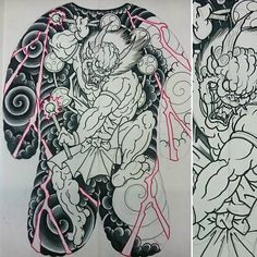 Did this hannya and peonies, possibly gonna make prints Japanese Demon Tattoo, Japanese Dragon Tattoos, Japanese Sleeve Tattoos, Japanese Oni, Japanese Drawings, Raijin Tattoo, Samurai, Tattoo Tradicional, Biblical Tattoos