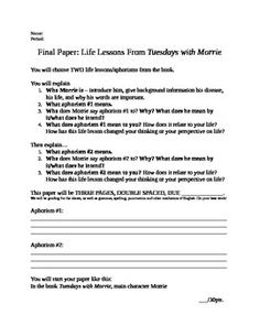 aphorisms in tuesdays with morrie essay Life lessons from morrie students were to choose two aphorisms/quotes/life student teaching, tuesdays with morrie unit essay writing final paper.