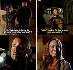 """""""How was it like to be all mind controlled and stuff?"""" - Felicity, Mick, Jax and Sara Legends Of Tommorow, Dc Legends Of Tomorrow, Supergirl Dc, Supergirl And Flash, Mick Rory, Cw Crossover, Hero Tv, Cw Dc, Snowbarry"""