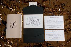 Modern Black and Gold Wedding Pocket Invitation Suite