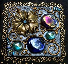 Fimo Clay, Polymer Clay Projects, Polymer Clay Art, Polymer Clay Jewelry, Clay Crafts, Iridescent Color, Creative Arts And Crafts, Polymer Clay Christmas, Midnight Garden