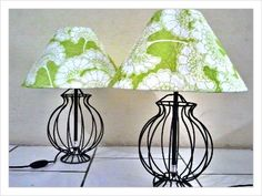 Green floral flutes on iron bases. Lamp shades by CMB Designs Lamps and Shades Trinidad.
