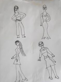 Four Fashionable Ladies, copic fine pen, copyright 2012 by A. Dameron. #30DaysofCreativity #30DoC #Day14
