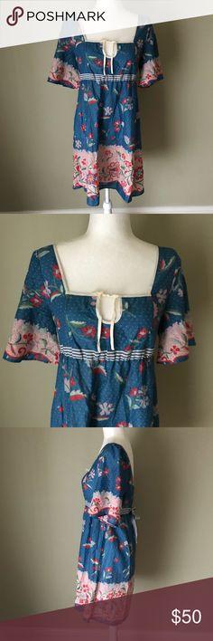 Anthropologie Lilka Blue Floral Tunic Dress Excellent condition. Size Medium. Anthropologie Dresses