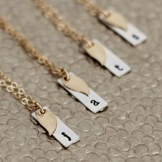 Personalized Bridesmaid Necklace with Gold Leaf- Set of 4 Bridesmaid Necklace Gift, Vertical Silver Bar, Sterling & 14k Gold Filled