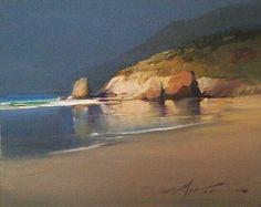 Golden Opportunity by F. Michael Wood - Oil Reminds me of my favorite beach in Santa Cruz Watercolor Landscape, Landscape Art, Landscape Paintings, Watercolor Art, Sea Art, Seascape Paintings, Beach Scenes, Art Oil, Scenery