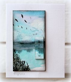 amazing scenic card created using Dylusion spray inks—wow!