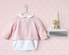 Knitted baby set. Sweater and diaper cover. Pink and by tenderblue