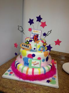 Fresh beat band/ rock star party cake. Homemade!!I have the best sister and my daughter has the best Godmother!