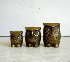 Three Brass Owl Figurines | Owl Paperweight | Brass Sculpture | Owl Family