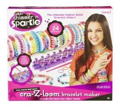 """Cra-Z-Art Shimmer 'n Sparkle Cra-Z-Loom Bracelet Maker.  Contains 600 latex-free rubber bands in rainbow colors- Includes the """"S"""" hooks special weaving hook tool- Illustrations and photos in the instruction booklet help you design simple to more advanced pieces.What's Included:- Cra-Z-Art Shimmer 'n Sparkle cra-Z-loom Bracelet Maker- 600 assorted rainbow color rubber bands- """"S"""" hooks special weaving hook tool- Instruction booklet."""