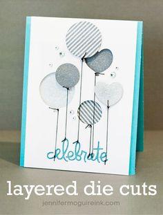 Layered Die Cuts Balloon Birthday Card & Video by Jennifer McGuire Ink
