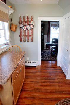 da6d7c037c6 DSC_0038 by newlywoodwards, via Flickr Brown Cabinets, Oak Kitchen  Cabinets, Kitchen Flooring,