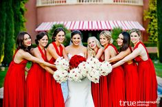 Wedding Etiquette and Advice Bridesmaid Dresses 2018, Red Bridesmaids, Beautiful Bridesmaid Dresses, Bridesmaid Dress Colors, Bridesmaid Pictures, Dresses 2016, White Wedding Bouquets, Red Wedding Dresses, Trendy Wedding
