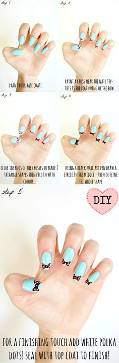 DIY easy bow nail art tutorial