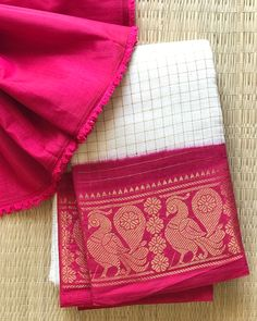 **Booked** Zarigai Checkers in Half white and Pink Combo with Annapakshi Motifs. Blouse one meter, Chanderi. DM for Enquiry! Pink Half Sarees, Pink Saree, Organza Saree, Cotton Saree, Checks Saree, Pink And White Dress, White Saree, Elegant Saree, Saree Dress
