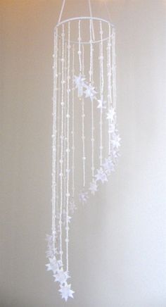 Hanging Origami Beaded Star Mobile Pure White by theStarcraft, $88.00