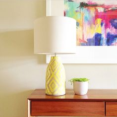 Ikat Table Lamp in Yellow | Freedom Furniture