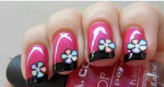 Pink,black,flower nail art