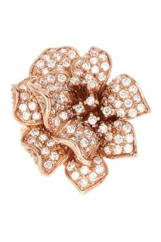 Rose Gold Vermeil Big Pave CZ Ornate Flower Ring