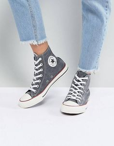 Shop the latest Converse Chuck Taylor All Star Hi Sneakers In Stonewashed Black trends with ASOS! Vans Gris, Converse Gris, Converse Sneakers, Best Sneakers, Sneakers Fashion, Converse All Star, Outfits With Converse, Converse Chuck Taylor All Star, Designer Shoes