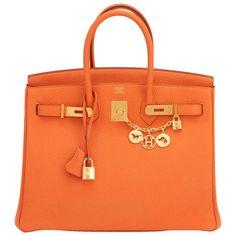 Hermes Classic Orange 35cm Birkin Bag Gold Hardware Rare 1