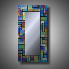 Iridescent Stained Glass Mosaic Mirror made with by MudHorseArt