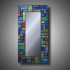 """Espejo de mosaico de vidrio iridiscente - Kokomo de cristal 8 """"x 16"""" a la orden - moderna decoración - acento espejo"""