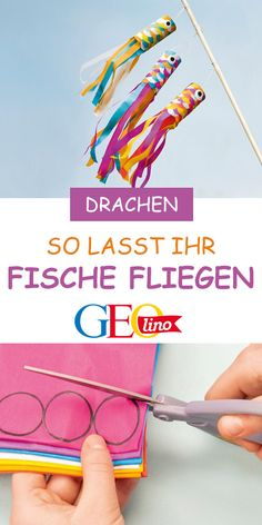 Dragons: flying fish-Drachen: Fliegende Fische We make a different kite – with flying fish! The instructions are on GEOLINO. Upcycled Crafts, Diy And Crafts, Diy For Kids, Crafts For Kids, Family Crafts, Dragons, Ideas Hogar, Frame Crafts, Family Activities