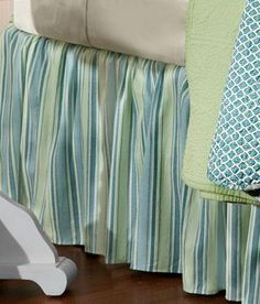 Instantly transform your room! Soft blues highlighted with green on a cream ground energize this bed skirt. (Country Curtains Placid Striped Bed Skirt.)