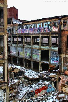 Detroit Packard plant. I can't believe we used to have huge raves with thousands of folks trippin and dancing all night till the sun came up. lucky it didn't colapse on us, i fell through the floor one time into the basement...my friends had to save me, we didnt realize it but the place is full of aspestose, after 8 hours of dancing we be pulling dirty buggers out of our nose for days...kg