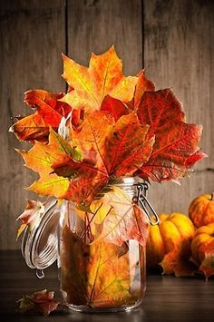 really like the combination of the glass jar and leaves...with the mini pumpkins, too