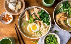 Instant Pot Chicken Ramen with shirataki noodles // This one-pot ramen soup is comforting and full of protein. Ramen Recipes, Chicken Recipes, Dinner Recipes, Cooking Recipes, Healthy Recipes, Recipies, Healthy Meals, Easy Recipes, Dinner Ideas