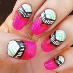 Bright and Funky! Photo courtesy of @hollynailsit: https://instagram.com/hollynailsit/