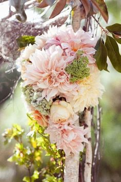 Blush punk wedding flowers